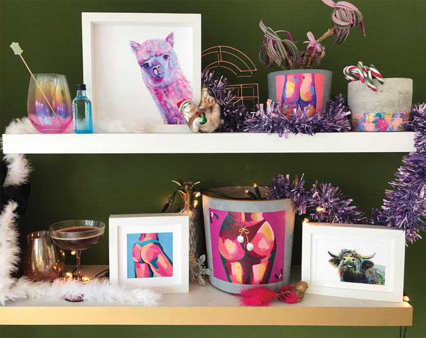 christmas shelves with butt pot highland cow bum painting and pink alpaca