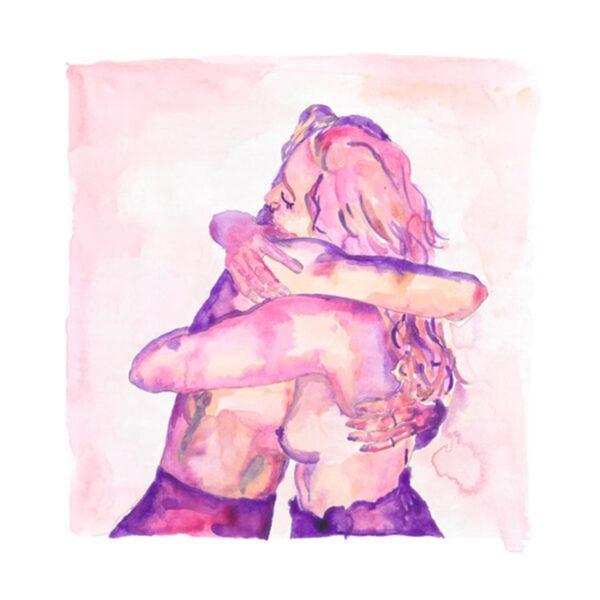 two girls hug