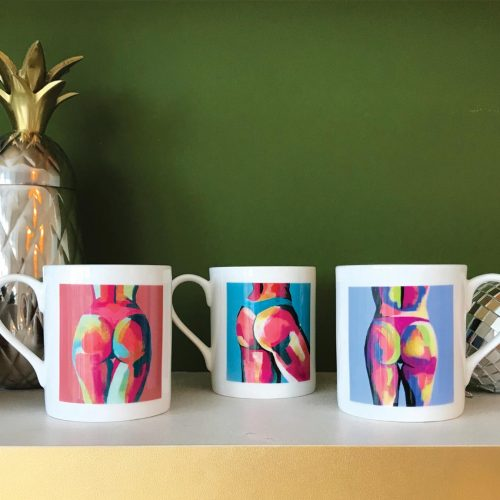 three colourful china butt mugs