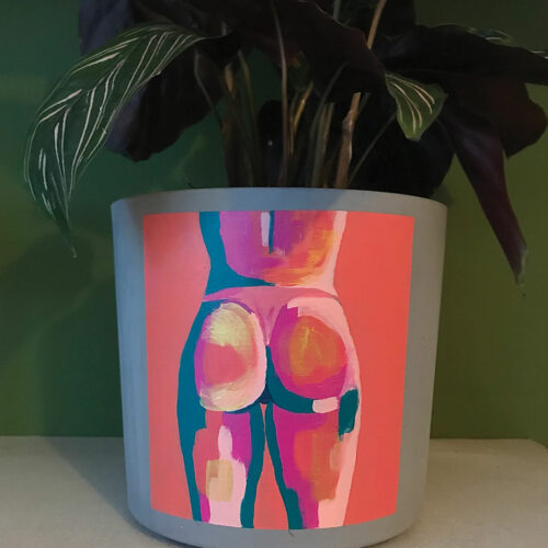 peach and turquoise painted butt on a concrete plant pot
