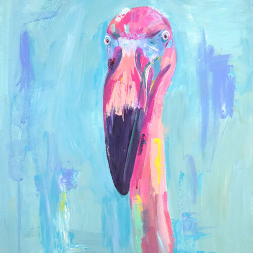 Pink painted flamingo on a light blue background